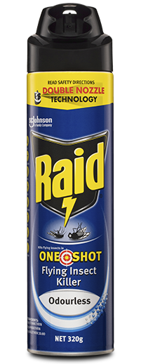 RAID KILLS FLYING INSECTS IN ONE SHOT FLYING INSECT KILLER ODOURLESS