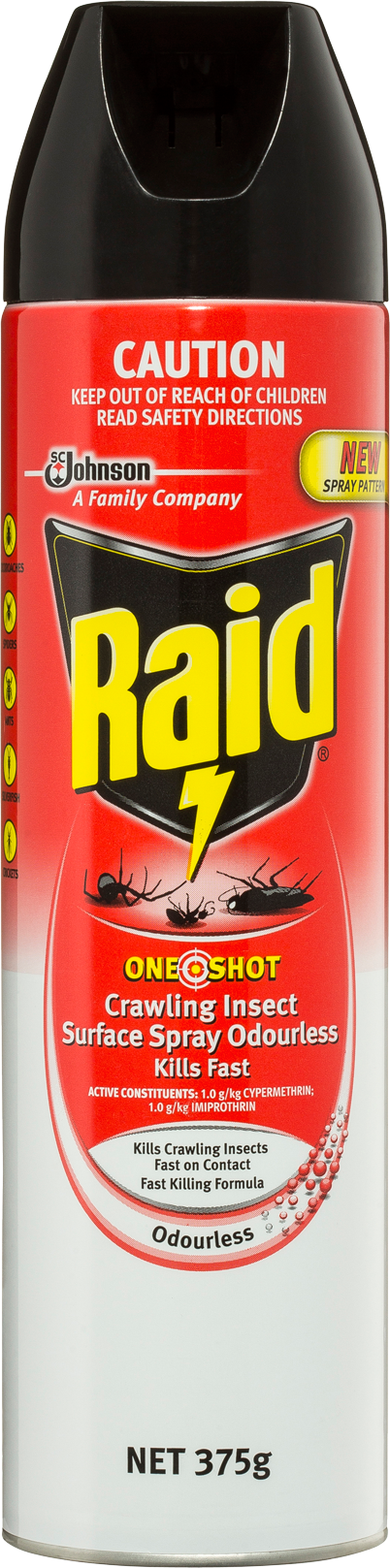 RAID ONE SHOT CRAWLING INSECT SURFACE SPRAY ODOURLESS KILLS FAST